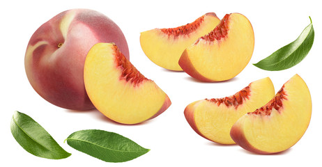Peach, pieces and leaves set isolated on white background