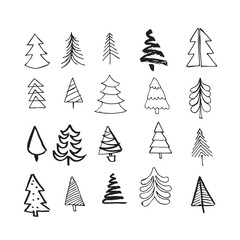 Hand drawn Christmas trees doodle icons