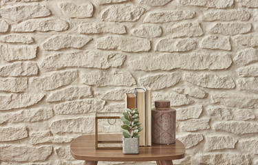 coffee table and living room accessories style white brick background