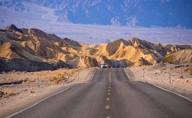 Beautiful road through the Death Valley National Park in California