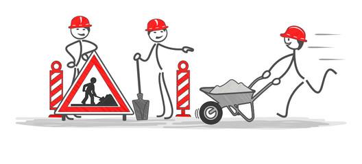 travailleurs en situation sur une zone de travaux