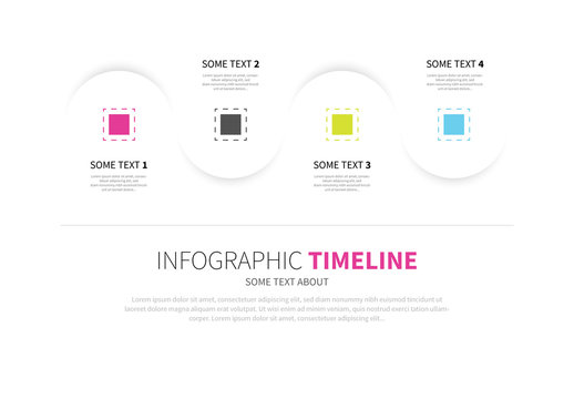 Wave Infographic with Colored Dashed Boxes