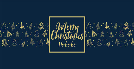 Hand drawn Christmas tree background with message