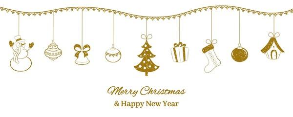 Festive horizontal banner. Golden Christmas pendants on a white background. Snowman, bell, ball, tree, gift, sock, fairy tale house. Congratulatory inscription. Vector illustration