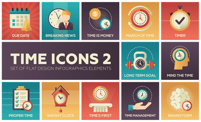 Time icons - modern set of flat design infographics elements