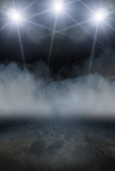 Dark Stage Background with Smoke and Spot Lights