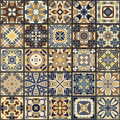 A collection of ceramic tiles in blue and beige retro colors. A set of square patterns in ethnic style. Vector illustration.