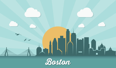 Fototapete - Boston skyline - Massachusetts