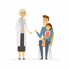 Father with daughter at doctors - cartoon people characters isolated illustration