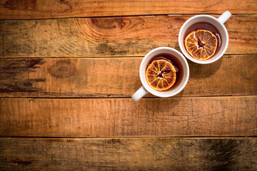 two cups of tea with lemon