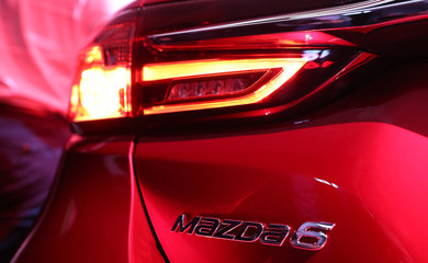 Rear detail view of the new Mazda 6 at the Los Angeles Auto Show in Los Angeles