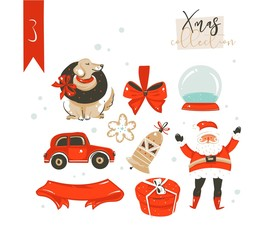 Hand drawn vector abstract cartoon classic Merry Christmas time illustrations decoration elements collection set with surprise gift boxes,dog,Santa Claus and snow ball isolated on white background