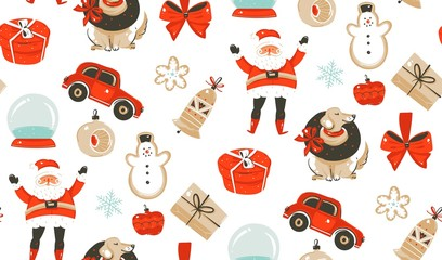 Hand drawn vector abstract fun cartoon classic Merry Christmas time illustrations decoration seamless pattern with surprise gift boxes,dog,Santa Claus and snow ball isolated on white background