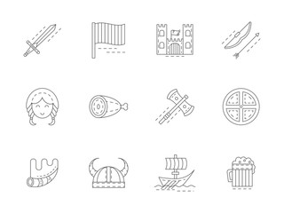 Viking attributes flat line vector icons set