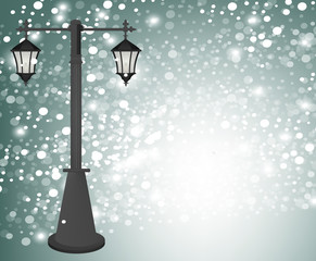 Vintage street lamp at winter background, vector