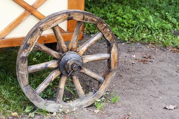Ancient wooden wheel of cart