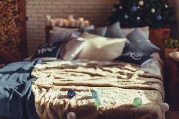 Christmas interior bedroom. Cozy and stylish modern room