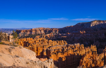 Wide angle view over Bryce Canyon in Utah