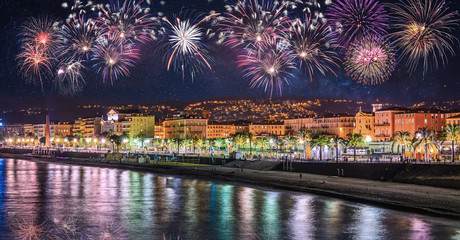 Fotobehang Stadion Night view of Nice with fireworks on the black sky , Cote d'Azur, French Riviera, France