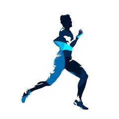 Running man, abstract blue vector silhouette, side view