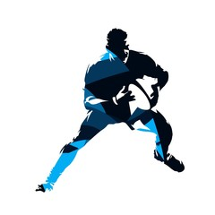 Running rugby player, abstract blue vector silhouette