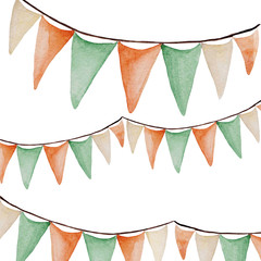 Watercolor Saint Patrick's Day banner. Flags ornament. For design, print or background