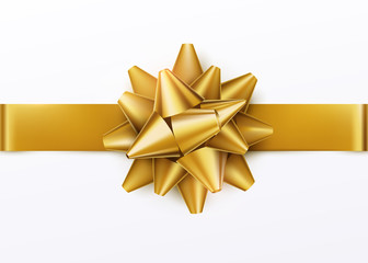 Gold gift bow with horizontal ribbon. Isolated on white background