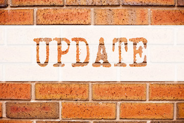 Conceptual announcement text caption inspiration showing Update. Business concept for Education Text knowledge study written on old brick background with copy space