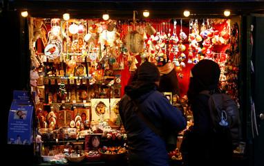 People visit the Christmas market in Innsbruck