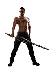 Black Man with Sword Isolated on White
