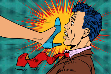 girl power, woman fights with a man. Gender conflicts and inequa