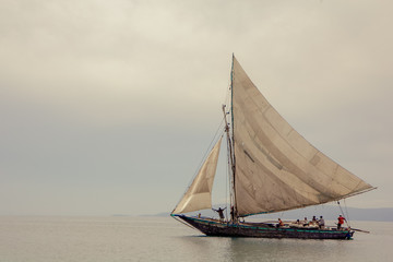 A Hatian sailboat in the harbor