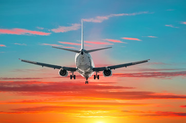 Passenger airplane flies landing at sunset on the background of blue green gradient and red sky.