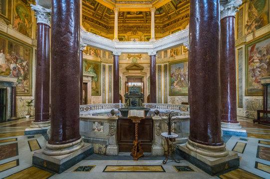 Lateran Baptistery (San Giovanni in Fonte) near the Basilica of Saint John in Rome, italy.