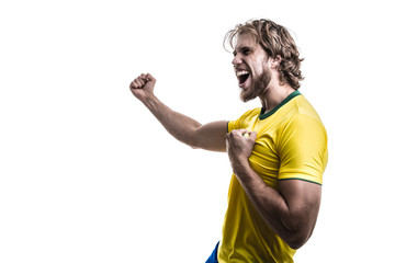 Male athlete / fan in yellow uniform celebrating on white background