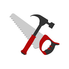 Saw and hammer icon vector