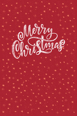 Decorative hand drawn lettering. Handwritten phrase Merry Christmas isolated on black background. Trendy vector design for xmas decor and posters