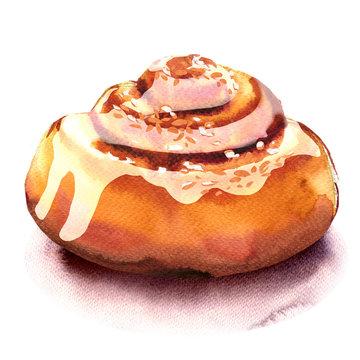 Fresh homemade cinnamon rolls, sweet bun, dessert isolated, watercolor illustration on white