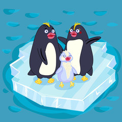 Fun color children's vector illustration . A family of Arctic penguins on the ice. Mother penguin. Papa penguin. Chick penguin. Characters.