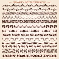 Ornamental border frame line vintage patterns 3 vector