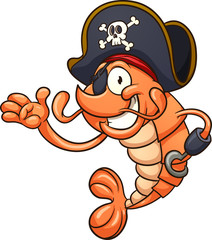 Happy pirate shrimp. Vector clip art illustration with simple gradients. All in a single layer.