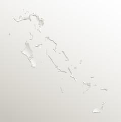 Bahamas map card paper 3D natural vector