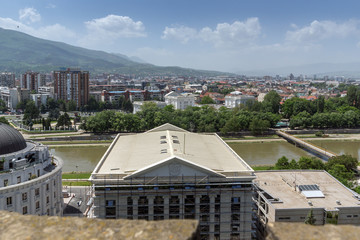 Panorama to city of Skopje from fortress (Kale fortress) in the Old Town, Republic of Macedonia
