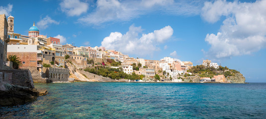 Syros town in a sunny day