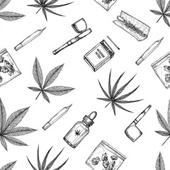 Hand drawn vector seamless pattern - Medical cannabis and some accessories. Design elements in sketch style ( joint, tobacco pipe, matches, hemp oil, indica, marijuana)