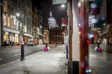 St Paul Cathedral at Christmas time in the night, London
