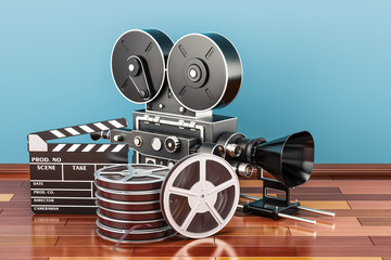 Cinema concept. Clapperboard with film reels and movie camera on the wooden floor, 3D rendering