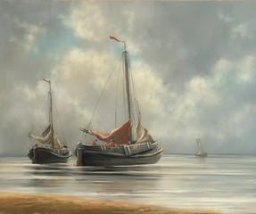 Sea  oil paintings landscape, ships. Fine art