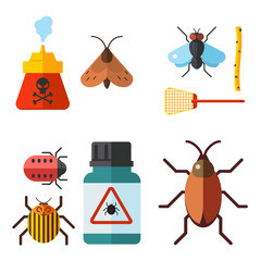 Home pest insect vector control expert vermin exterminator service pest insect thrips equipment flat icons illustration.
