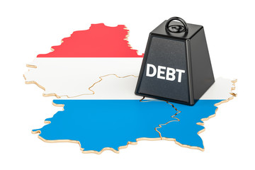 Luxembourg national debt or budget deficit, financial crisis concept, 3D rendering